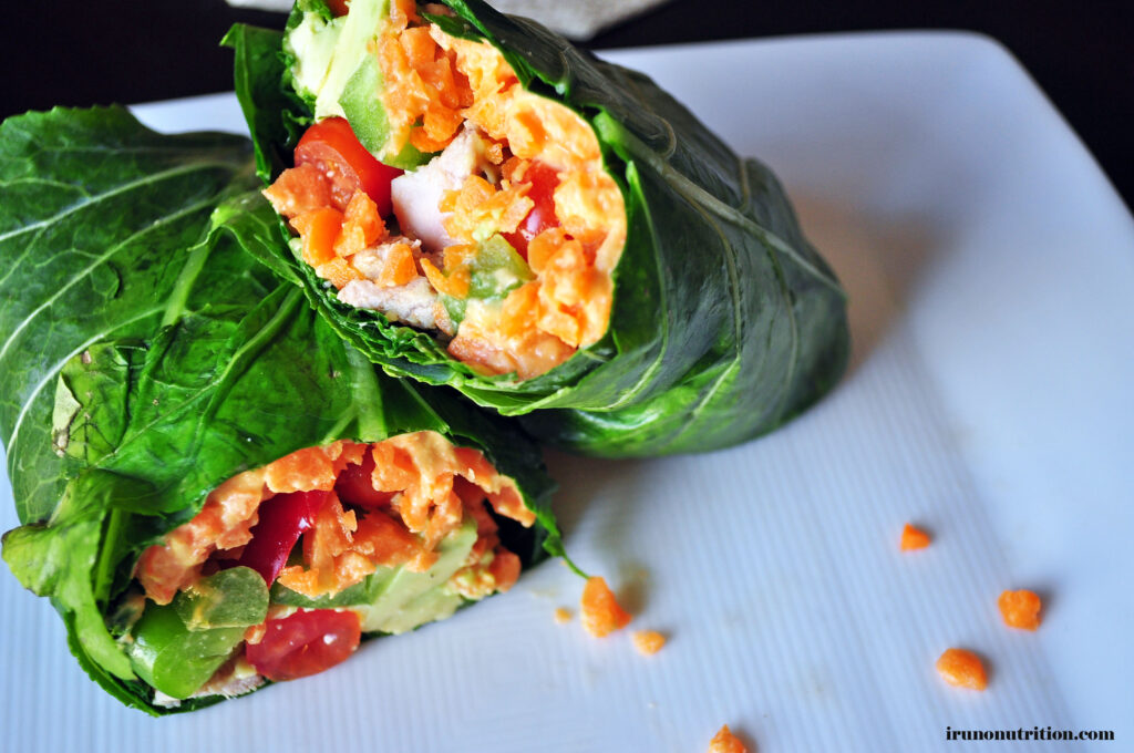Roasted Red Pepper Hummus Collard Green Wrap